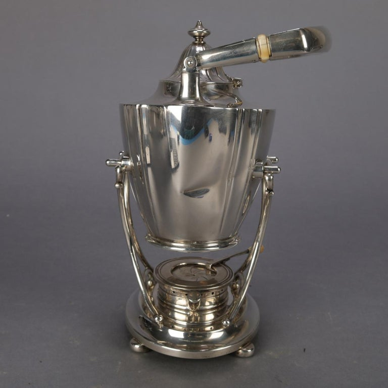 American J. E. Caldwell Sterling Silver Teapot on Warming Stand with Burner, 20th Century For Sale