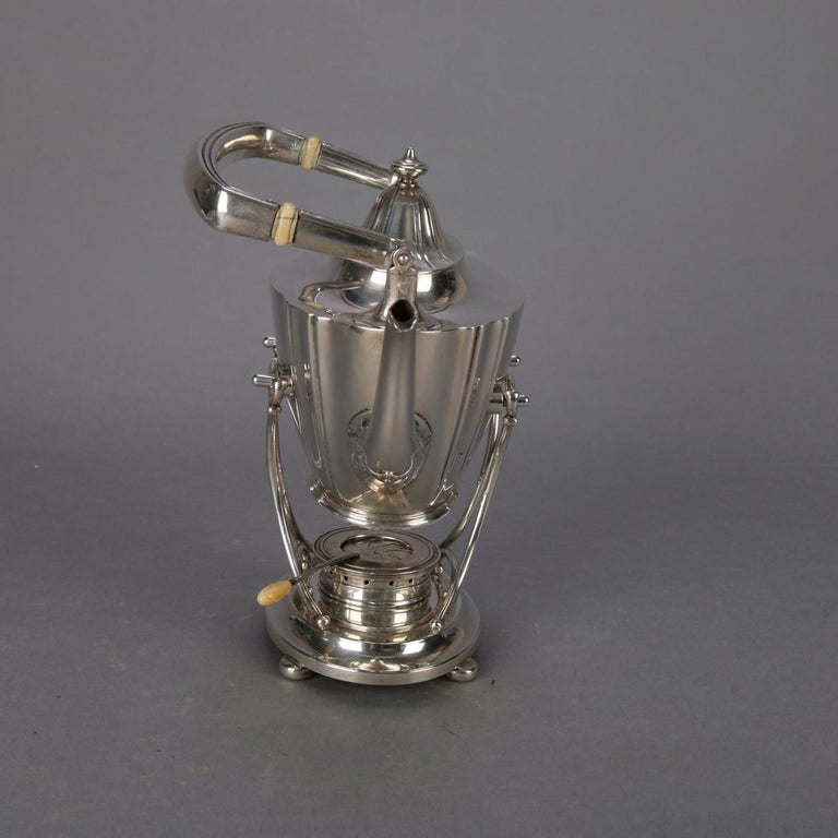 J. E. Caldwell Sterling Silver Teapot on Warming Stand with Burner, 20th Century In Good Condition For Sale In Big Flats, NY