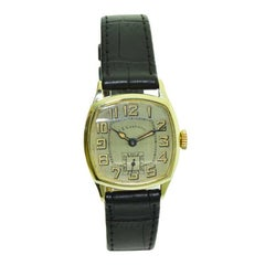 J E Caldwell Yellow Gold Filled Art Deco Watch with Original Dial