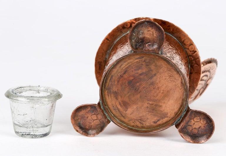 J F Poole Hayle Arts & Crafts Handbeaten Cornish Copper Inkwell For Sale 3