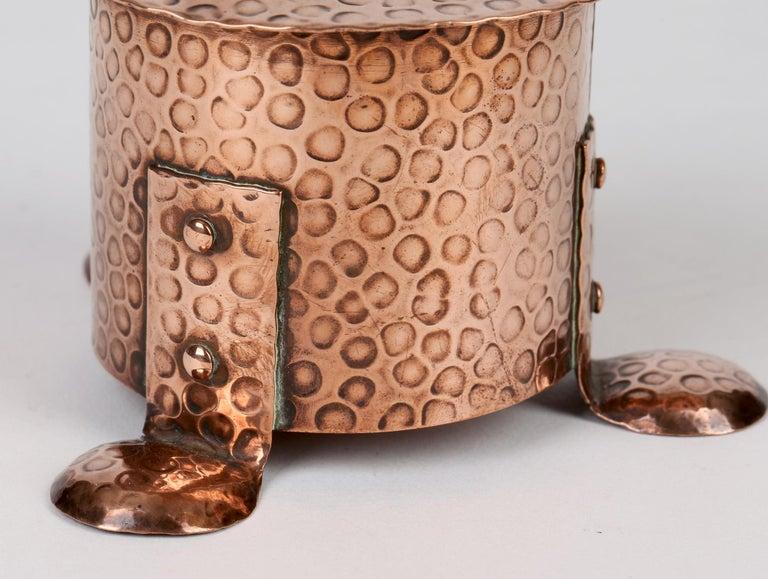 J F Poole Hayle Arts & Crafts Handbeaten Cornish Copper Inkwell For Sale 7