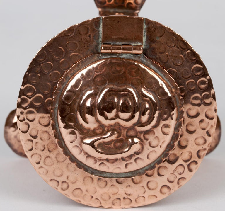 English J F Poole Hayle Arts & Crafts Handbeaten Cornish Copper Inkwell For Sale