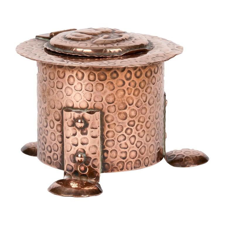J F Poole Hayle Arts & Crafts Handbeaten Cornish Copper Inkwell For Sale