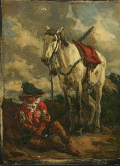Antique Equestrian Painting on wood The Sentinel 1908