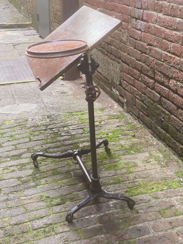 Industrial J. Foot & Son, London Iron and Oak Drafting Table For Sale