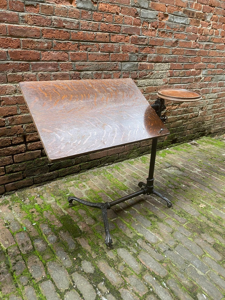 English J. Foot & Son, London Iron and Oak Drafting Table For Sale