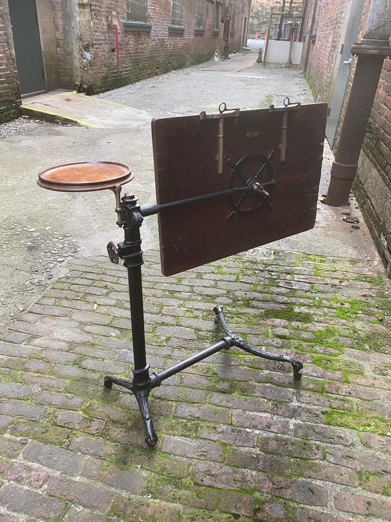 J. Foot & Son, London Iron and Oak Drafting Table For Sale 1