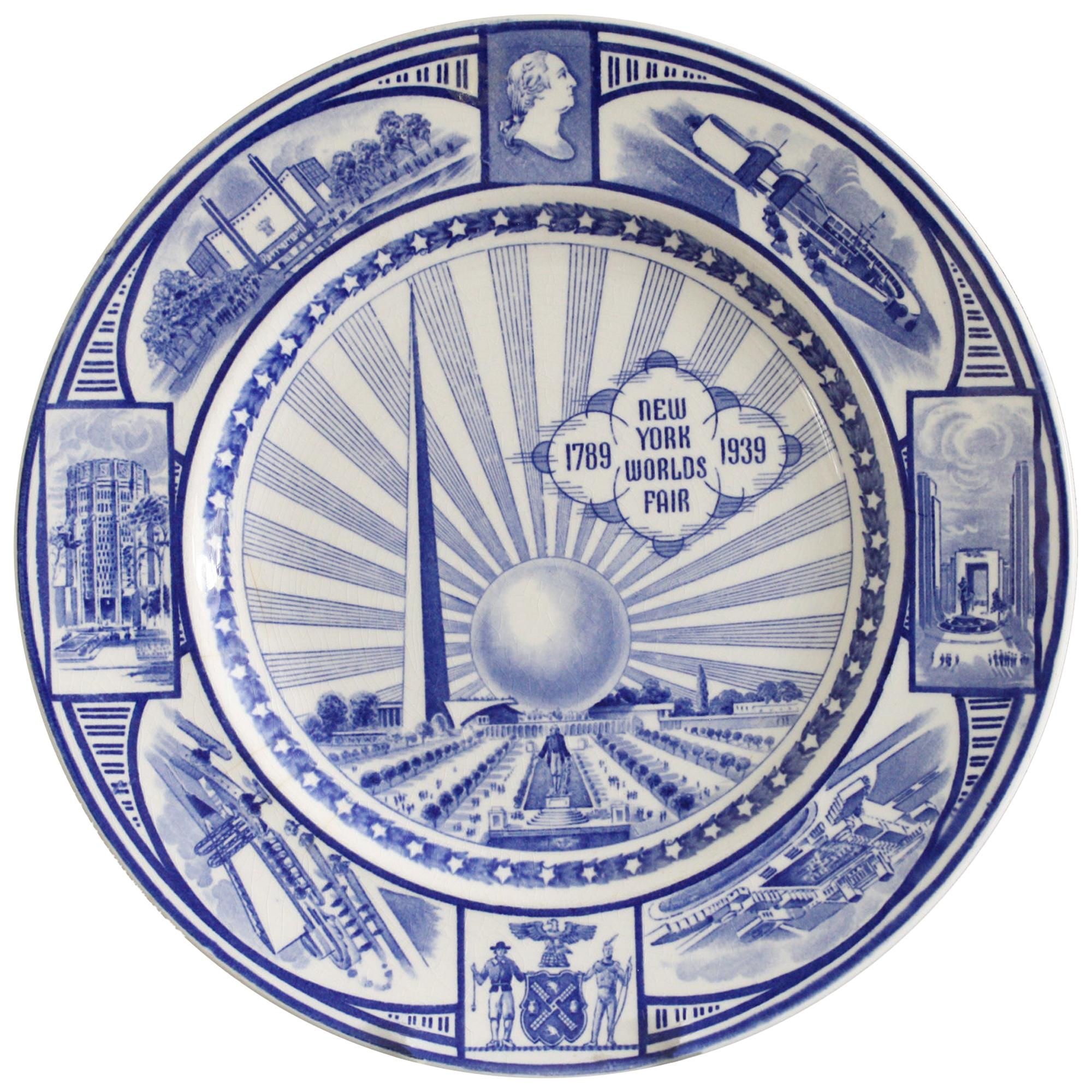 J & G Meakin New York Worlds Fair Commemorative Pottery Plate, 1939
