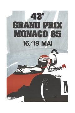 1991 J. Grognet 'Monaco Grand Prix 1985' Vintage Gray France Lithograph