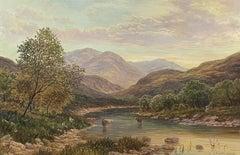 SIGNED SCOTTISH HIGHLANDS LOCH SCENE BRITISH OIL PAINTING - J. HAMILTON GEORGE