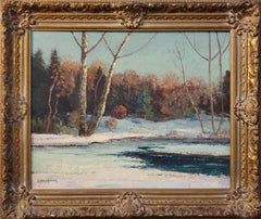 Landscape Oil Painting of an Early Snowfall in Woodstock NY by J Henry Hallberg