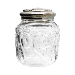 "J. Hoare Hand Blown ""Rock Crystal"" ABP Biscuit Barrel with Tiffany Sterling Lid"