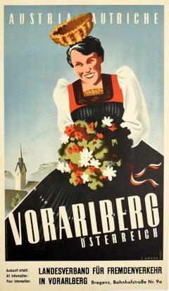 Original Vintage Poster For Austria Vorarlberg Autriche Osterreich Alps Travel