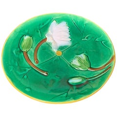 J. Holdcroft Majolica Pond Lily Plate, English, circa 1875, Signed 'J HOLDCROFT'