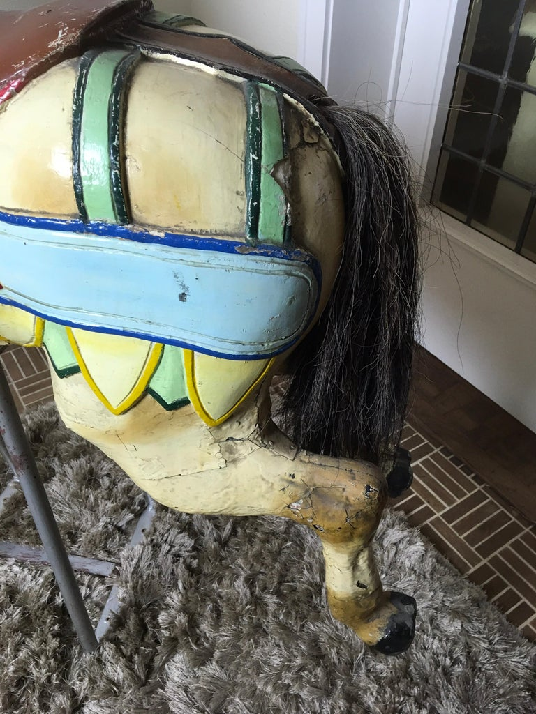 J. Hübner Germany  Carved Wood Carousel Horse Early 20th Century For Sale 7