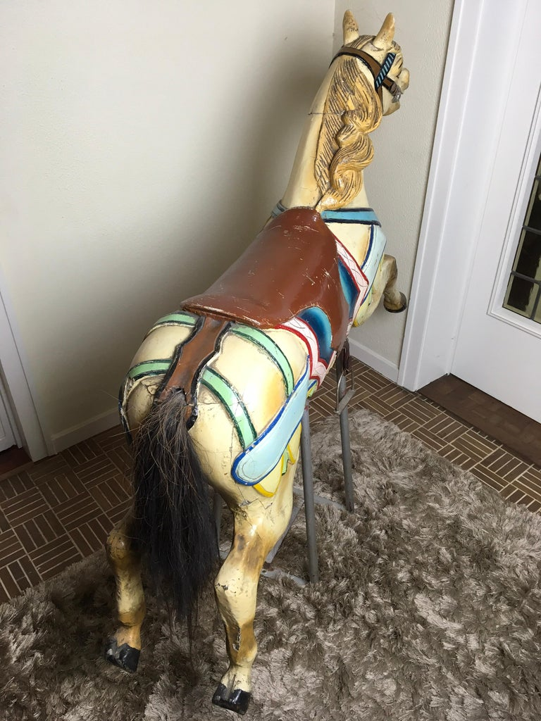 J. Hübner Germany  Carved Wood Carousel Horse Early 20th Century For Sale 8
