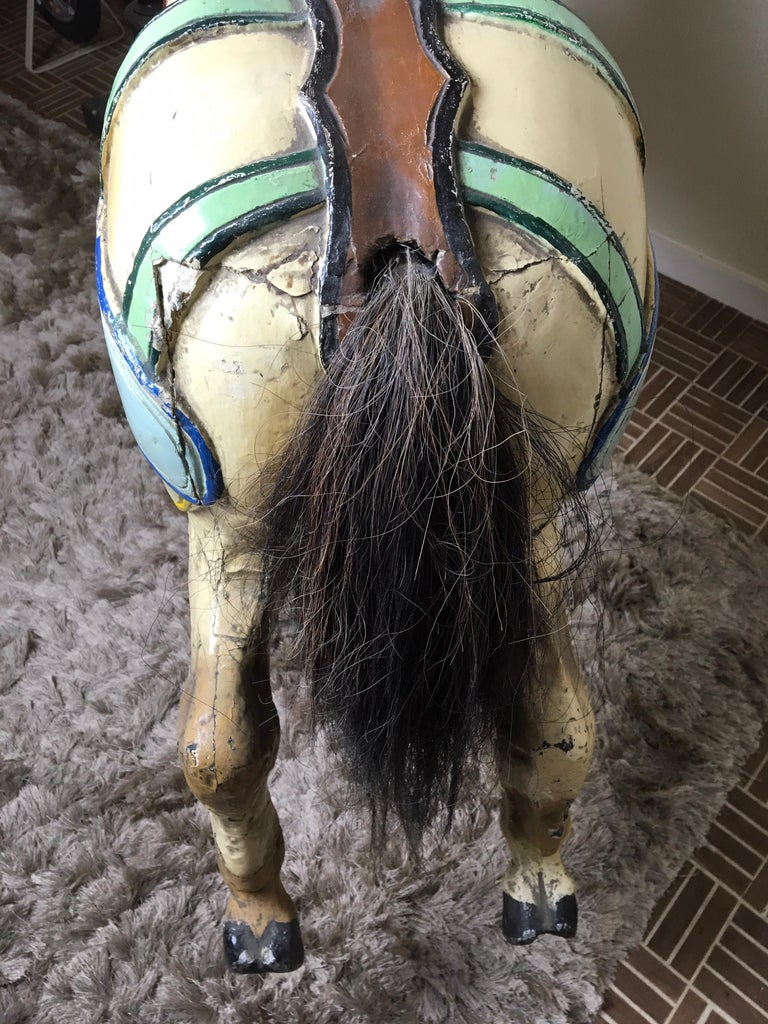 J. Hübner Germany  Carved Wood Carousel Horse Early 20th Century For Sale 9