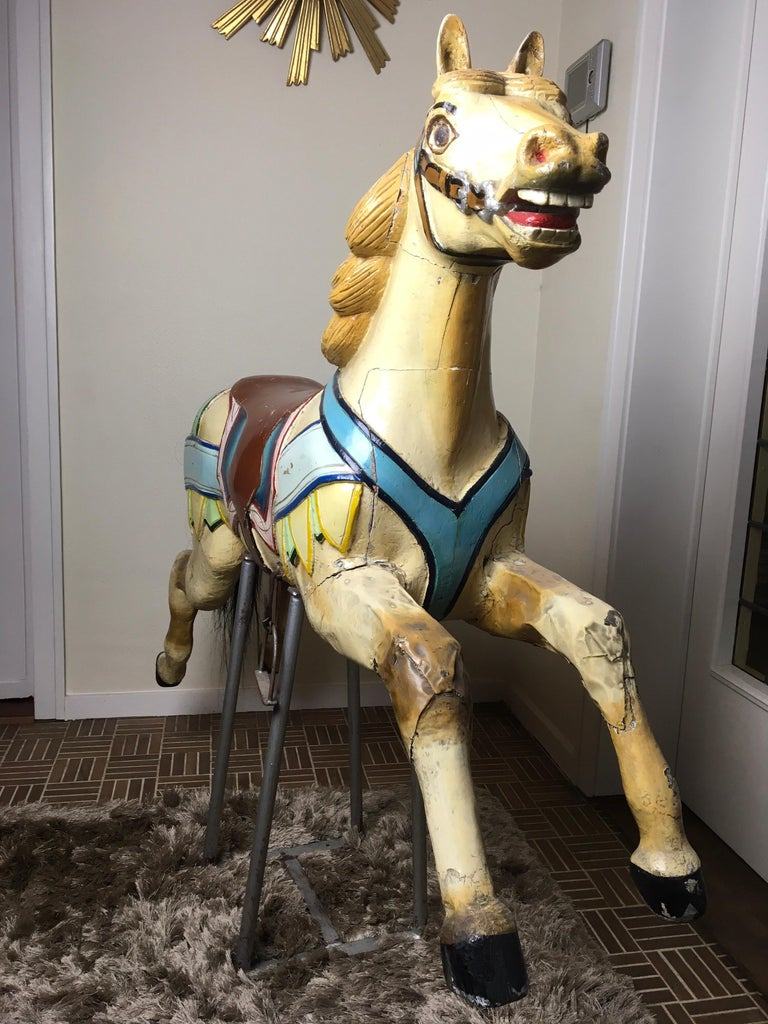 J. Hübner Germany  Carved Wood Carousel Horse Early 20th Century For Sale 12