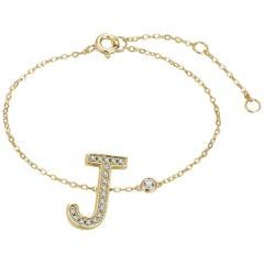 J Initial Bezel Chain Anklet