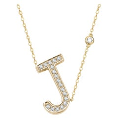 J Initial Bezel Chain Necklace