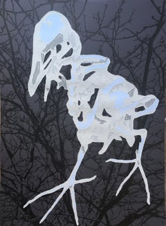 J Ivcevich, Trail Natural History (Grey Bird), mixed media on paper, 2018