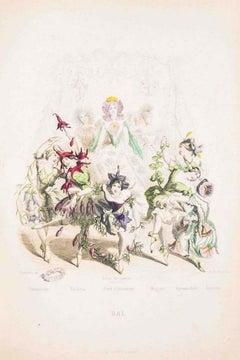 Bal - Les Fleurs Animées Vol.II - Lithograph by J.J. Grandville - 1847