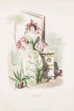 Cactus - Les Fleurs Animées Vol.II - Lithograph by J.J. Grandville - 1847