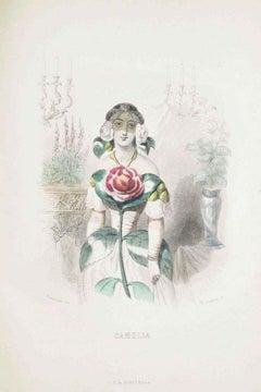 Camelia - Les Fleurs Animées Vol.I - Litho by J.J. Grandville - 1847