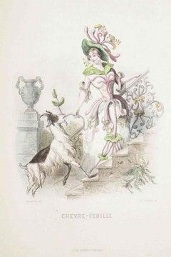 Chèvrefeuille - Les Fleurs Animées Vol.I - Lithograph by J.J. Grandville - 1847