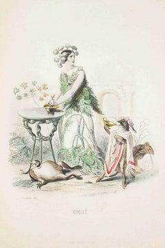 Cigue - Les Fleurs Animées Vol.I - Litho by J.J. Grandville - 1847