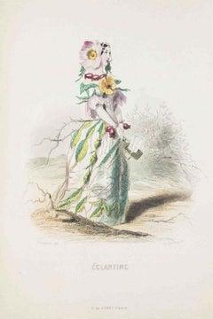 Eglantine - Les Fleurs Animées Vol.I - Litho by J.J. Grandville - 1847
