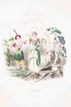 Erratum - Les Fleurs Animées Vol.II - Lithograph by J.J. Grandville - 1847