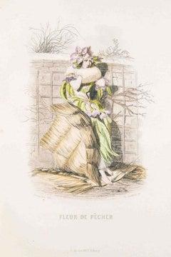Fleur de Pecher - Les Fleurs Animées Vol. - Lithograph by J.J. Grandville - 1847