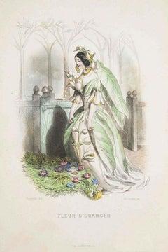 Fleur d'Oranger - Les Fleurs Animées Vol.I - Litho by J.J. Grandville - 1847