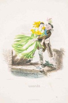 Giroflée - Les Fleurs Animées Vol.II - Lithograph by J.J. Grandville - 1847