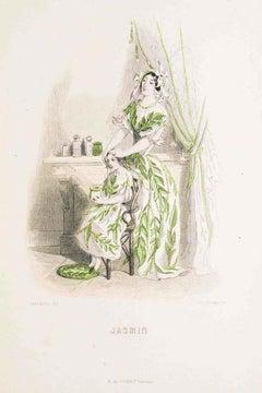 Jasmin - Les Fleurs Animées Vol.II - Lithograph by J.J. Grandville - 1847