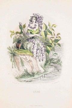 Lilas - Les Fleurs Animées Vol.II - Lithograph by J.J. Grandville - 1847