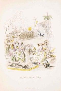 Retour des Fleurs - Les Fleurs Animées Vol. II - Litho by J.J. Grandville - 1847