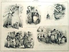 Singeries   - Original Lithograph by J.J. Grandville - 1832
