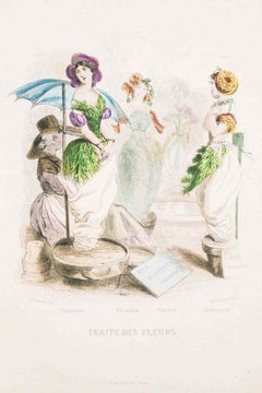 Traite des Fleurs - Les Fleurs Animées Vol.II - Litho by J.J. Grandville - 1847