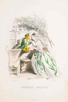Tubéreuse Jonquille - Les Fleurs Animées Vol.I - Litho by J.J. Grandville - 1847