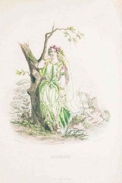 Verveine - Les Fleurs Animées Vol.II - Litho by J.J. Grandville - 1847