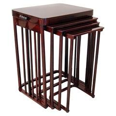 J & J Kohn Art Nouveau Set of Side Tables Josef Hoffmann Mahogany Stained