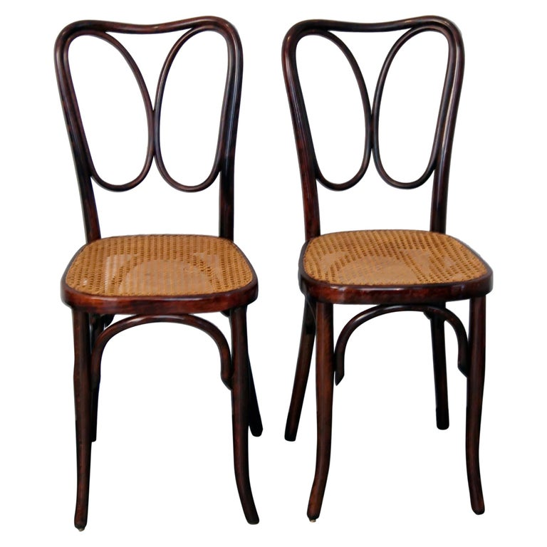 J. & J. Kohn Vienna Art Nouveau Bentwood Two Chairs Nr. 243 Mahogany c.1905 For Sale