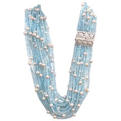 J. Kasi 24-strand 1850 carats of Blue Topaz and Japanese Akoya Pearl Necklace