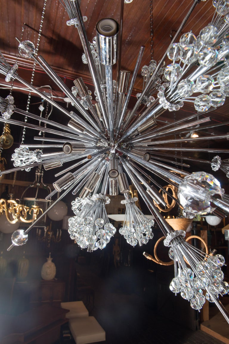 J. & L. Lobmeyr Starburst Chrome, Crystal Chandelier, by Hans Harald Rath For Sale 4