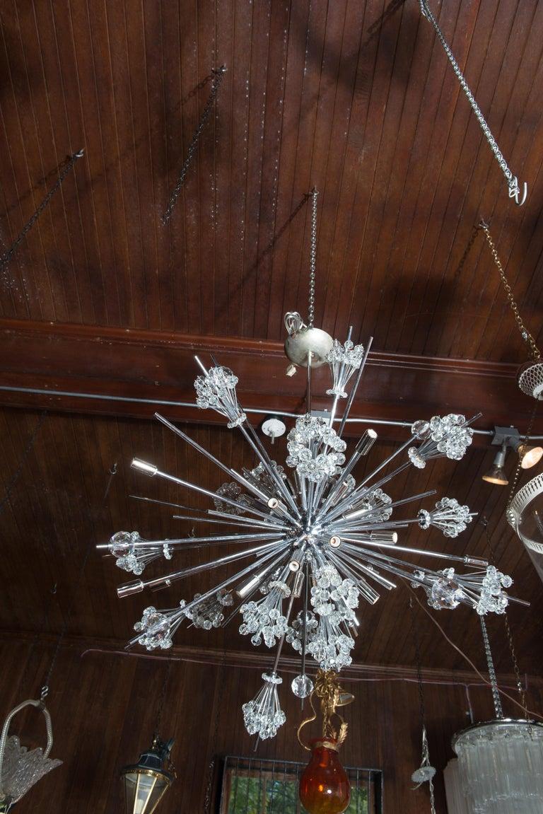 Austrian J. & L. Lobmeyr Starburst Chrome, Crystal Chandelier, by Hans Harald Rath For Sale