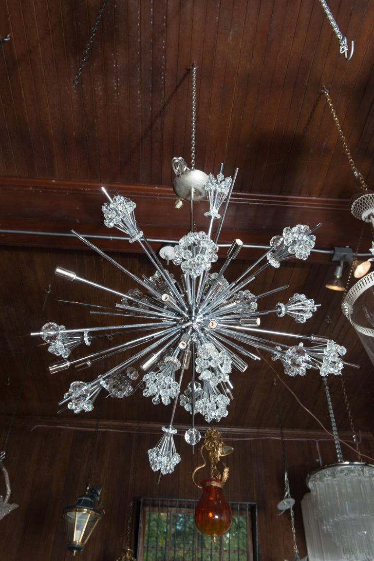 J. & L. Lobmeyr Starburst Chrome, Crystal Chandelier, by Hans Harald Rath In Excellent Condition For Sale In Stamford, CT