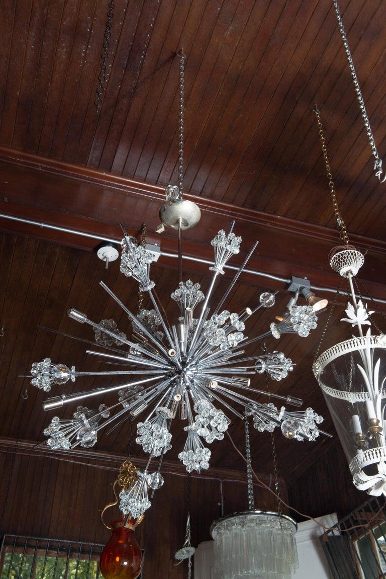 Mid-20th Century J. & L. Lobmeyr Starburst Chrome, Crystal Chandelier, by Hans Harald Rath For Sale