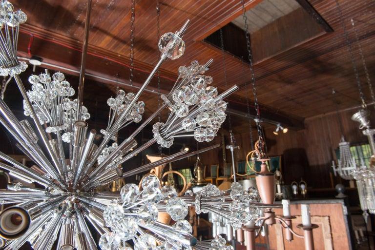 Metal J. & L. Lobmeyr Starburst Chrome, Crystal Chandelier, by Hans Harald Rath For Sale